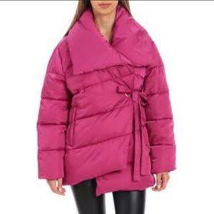 Pink puffer wrap coat